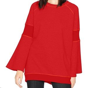 Kenneth Cole ribbed inset bell sleeve sweatshirt